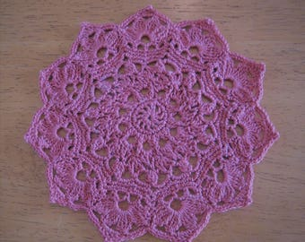 New small rose pink hand-crocheted doily