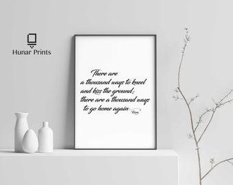 Wall Art, Calligraphy Wall Decor, Digital Printable Art, Rumi Quotes, Motivation, Bedroom Wall Art Prints, Wall Art Quotes, Gift idea