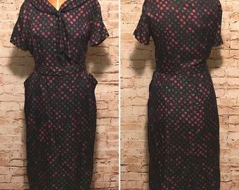 Vintage 1960s Belted Shirt Dress // 60s Midi Dress With Pockets // size large L