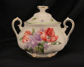 Sugar Bowl Royal Albert Tulips & Lilacs Bone China Botanical Teas, Gold Trim, Item #556656248