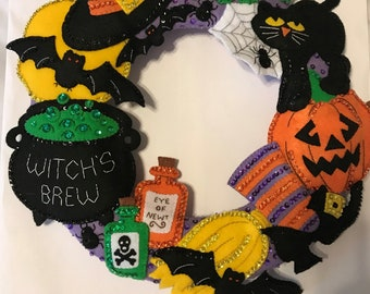 Bucilla Witch's Brew Wreath **COMPLETED**