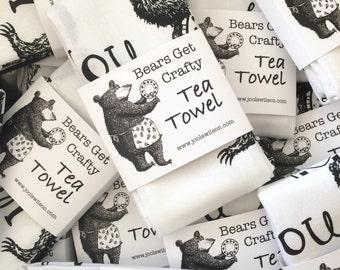 Dish Washing Bears Tea Towel