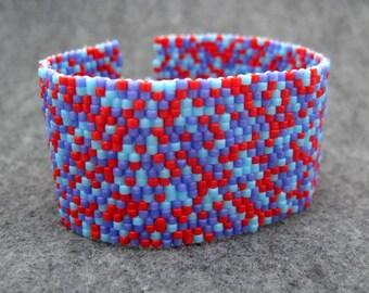 SALE Beaded Cuff Bracelet - Color Explosion II Red Turquoise Blue Purple by randomcreative on Etsy