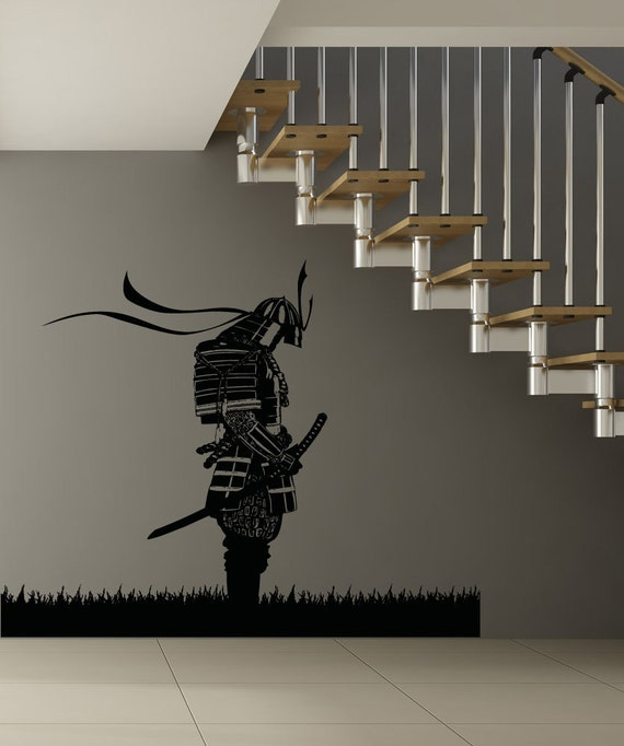 Vinilo pared arte Decal Sticker meditando a Samurai 5024B