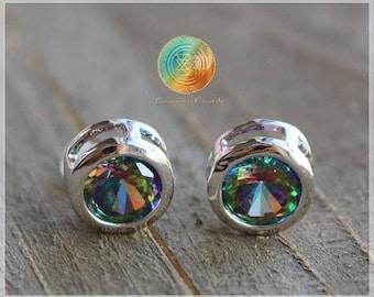 Mystic Topaz Earrings,Mystical Topaz Studs,Green Mystic Topaz Stud Earrings,Gemstone Studs,Stone Earrings,Sterling Silver stud earrings