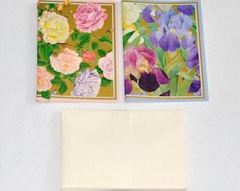 Karen Fjord Kjaersgaard Iris Garden & Rose Garden Notecards by Caspari, Set of 6, Vintage Stationery