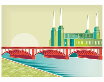London Art Thames River Print, Battersea Power Station: Cityscape Art Print, London landscape