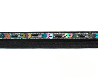 11yds Black Fold Over Elastic Trim with Silver Edge & Sequins 17mm wide