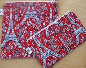 Reusable Zipper Sandwich & Snack Bags pouch BPA Free Eco Friendly Set of 2 Paris Eiffel Tower print