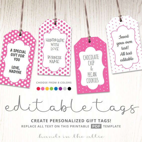 Editable Gift Tags Gift Tag Template Text Editable Polka