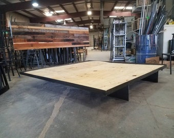Free Shipping! The Armstrong Floating Platform Bed from Reclaimed Wood and Metal