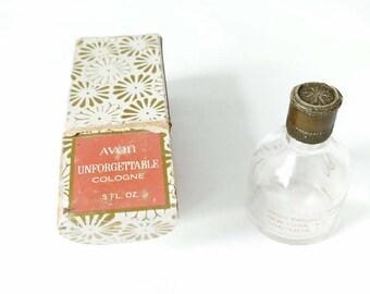 Vintage Avon Unforgettable Cologne Perfume Bottle with Box .5 fl oz Mini Cologne Bottle Perfume Empty Clear Bottle 1960's