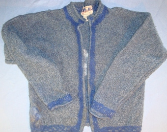 blue cardigan with blue and white flowers