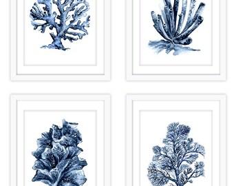 nautical printables, coral artwork, set of 4, printable wall art, digital download watercolor art, printable watercolor painting, indigo art