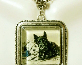 Scottie and Westie pendant with chain - DAP05-140