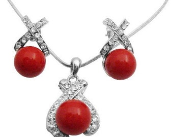 Red Shell Pearl Pendant Earrings Set  Red Coral Pendant Earrings Set Free Shipping In USA