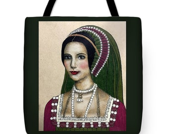 Queen Anne Boleyn Tote Bag *Choose your size and color*