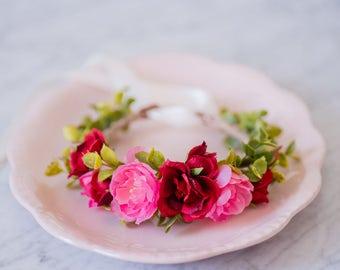 Baby Floral Crown, Red Silk Flower Headband, Milk Bath Photoprop, Newborn Photo Prop, Flowergirl Hairpiece, Bohemian Baby, Boho Accessory