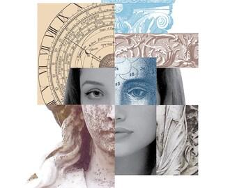 DIGITAL COLLAGE A4 digital mash-up, montage, digital layers, architectural elements, vintage clock, female face, statue, 'Mash-up1'