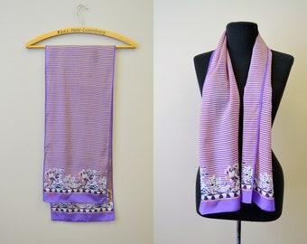 1980s Anne Klein Striped Silk Scarf