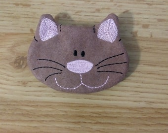 Embroidered Kitty Coin Purse Pouch