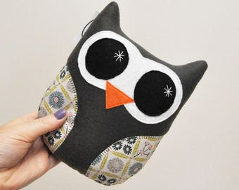 Dark Gray Plush Owl With Floral Print Wings - READY TO SHIP