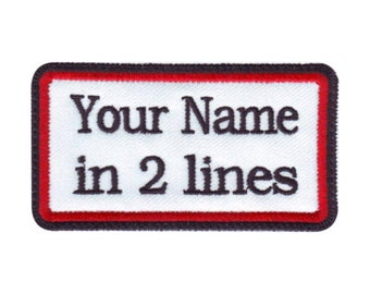 Rectangular 2 Line Custom Embroidered Name Tag Patch (A)