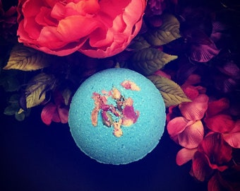 """3"""" Handmade Violet & Lilac Bath Bomb with Roses"""