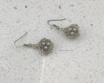 Nesting Earrings –Swarovski Pearls, Antiqued Brass
