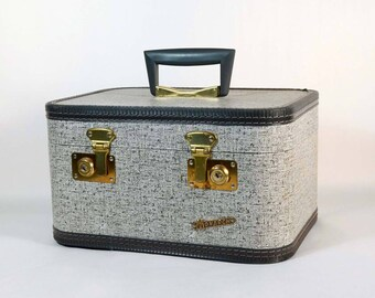 Vintage Grey Speckled Train Case by Monarch, 50s 60s Mid Century Carry on Luggage, Retro Small Suitcase