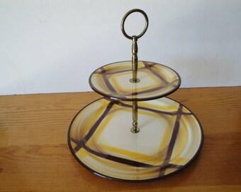 Vintage Vernon Ware Metlox Poppytrail Organdie - 2 Tier Tidbit Serving Tray - Bottom Dinner Plate