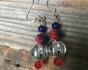 Shiny Red, White, and Blue Patriotic earrings