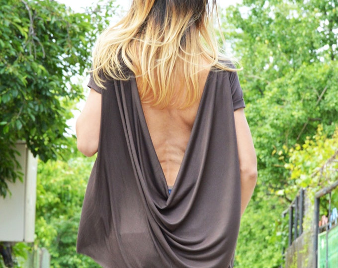 Women's Loose Top, Women's Clothing, Plus Size Tank Top, Summer Backless Top, Maxi Blouse, Short Sleeves by SSDfashion