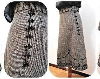 Viktoria Skirt - skirt victorian inspiration with soutache braid embellishment, gothic romantic gown vampire frog clousure