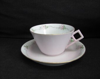Vintage Limoges, W. G. & Co. France, Pale Pink Teacup and Saucer with Hand Painted Roses