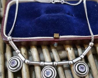 Vintage Sterling Silver Necklace/choker, Amethyst Gemstones, Modernist