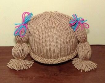 Cabbage Patch Hat Wig Knit newborn crochet outfit baby girl knit baby girl crochet pig tail hat