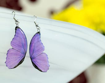 Purple, Blue morpho small butterfly wing earrings looks like real butterfly. Comes in a gift box.