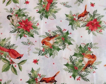Songbird Christmas by Pez Costa for Maywood Studio, white Christmas Fabric with Birds and Holly, Fabric by the Yard