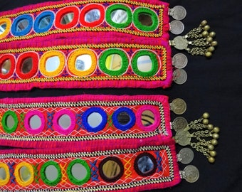 Banjara Necklace, Ethnic Necklace, Indian Coin Necklace with Big Round Shisha Mirrors, Boho gypsy Necklace, Kutch Jewelry