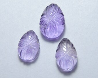 3 Pcs Set Very Beautiful Natural Purple Amethyst Hand Carved Pear Shape Beads Size 16X11 - 13X9 MM