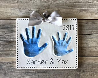 Personalized Brother Sister Art - Personalized Handprint Art - Childrens Hand Imprint Kit - Kids Handprint Keepsake Kit - Handprint Mold