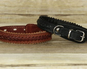 ELITA Designer Collection 2-Ply Genuine Leather Dog Collar with Braiding for Small Sized Breeds
