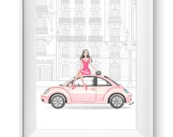 Fashion illustration print, Fashion art, watercolor, car, girls room art, vanity art, girl art, travel, volkswagen beetle - Travel in style