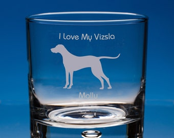 Hungarian Vizsla Dog Gift Personalised Engraved Whisky Glass - Add your Name and Message - Birthday Gift, Christmas Gift, Dog Lover Gift