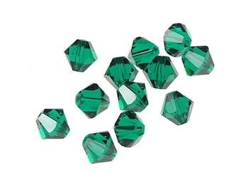 12 EMERALD 6mm Bicone Beads Swarovski Crystal Beads 5301 5328 6mm Beads Rich Emerald Green