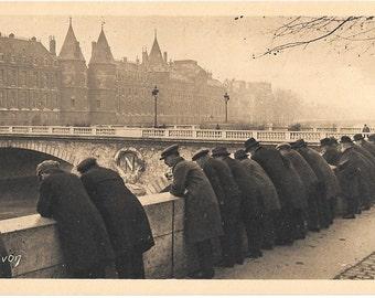Something is going Forward, Men on River Bank, Paris, France, Vintage 1940's Unused Postcard, Les Editions d' Art YVON, Paris. Card #173