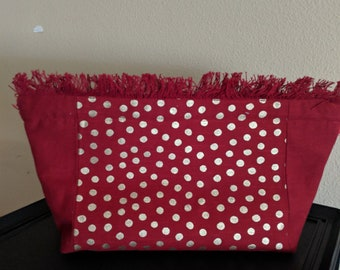 Adorable Large Zipper bag Red with Gold Polkadots