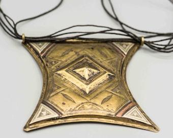"Huge Tuareg Gri Gri Brass Copper and Silver Amulet Pendant 4 3/4"" x 4"" SKU-TB-419"