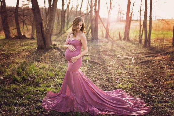 Lace Maternity Gown Photography Long Maternity Dress For Photo